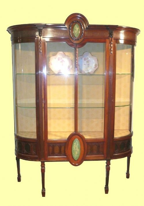 superb quality mahogany antique display cabinet with bowed glass sides
