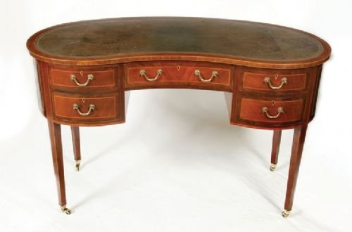 an antique inlaid mahogany kidney shaped desk - An Antique Inlaid Mahogany Kidney Shaped Desk 85873