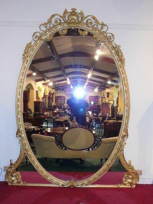 large gilt 19th century overmantel mirror