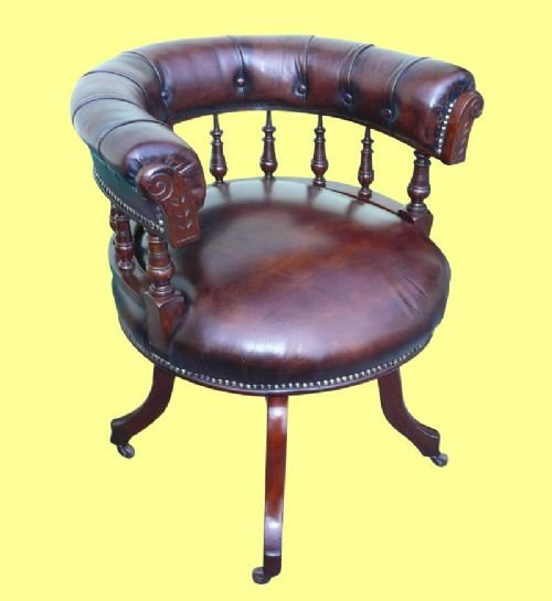 superb victorian mahogany revolving antique desk chair