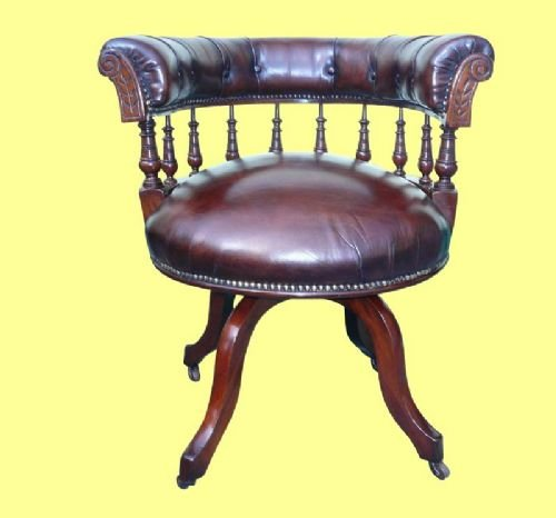 superb victorian mahogany revolving antique desk chair - photo angle #2