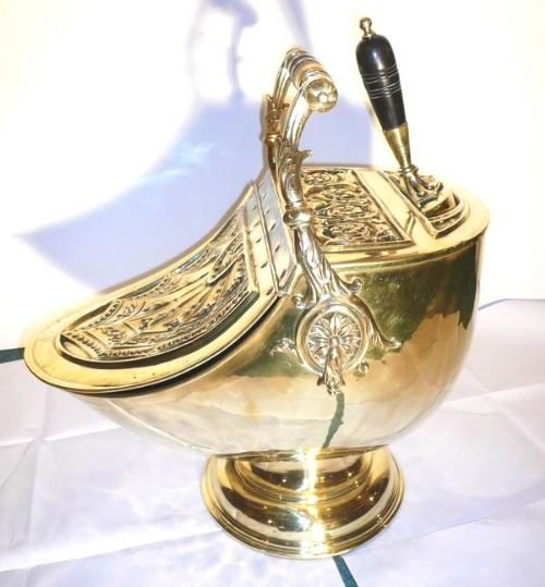 superb victorian brass coal scuttle complete with original shovel