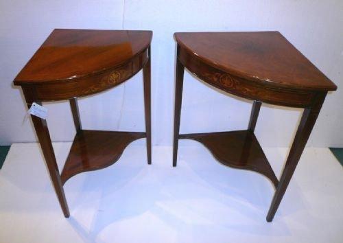 Declaration - Near Pair Of Rosewood Antique Corner Tables 140910