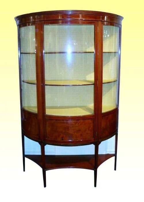 bow fronted inlaid mahogany antique display cabinet