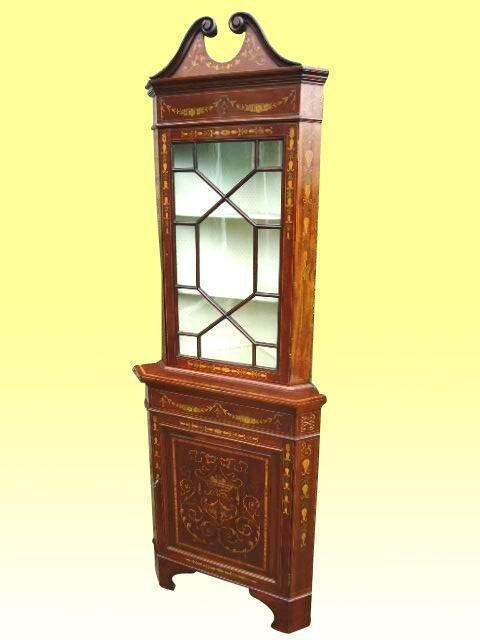 fine quality 19th century marquetry inlay antique mahogany corner cabinet