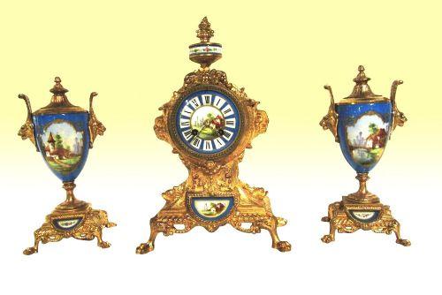 beautiful 19th century french clock garniture set