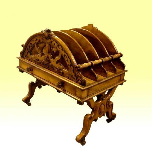 rare walnut antique canterbury with drawer