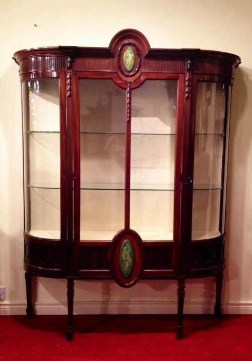 superb quality mahogany antique display cabinet with bowed glass sides - photo angle #4