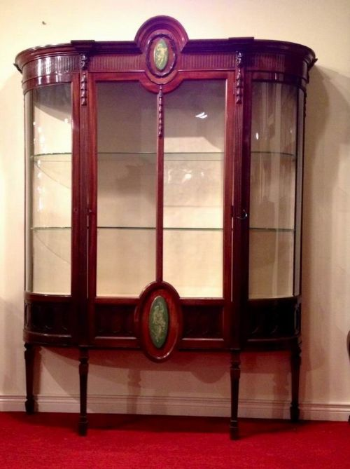 superb quality mahogany antique display cabinet with bowed glass sides - photo angle #5