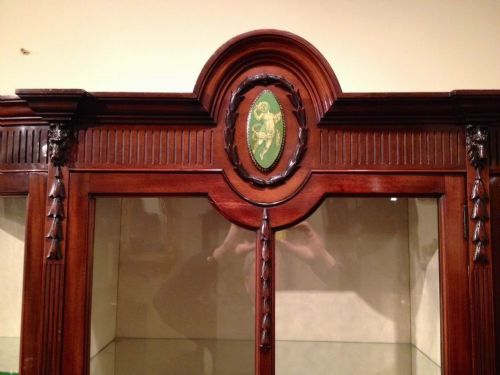 superb quality mahogany antique display cabinet with bowed glass sides - photo angle #7