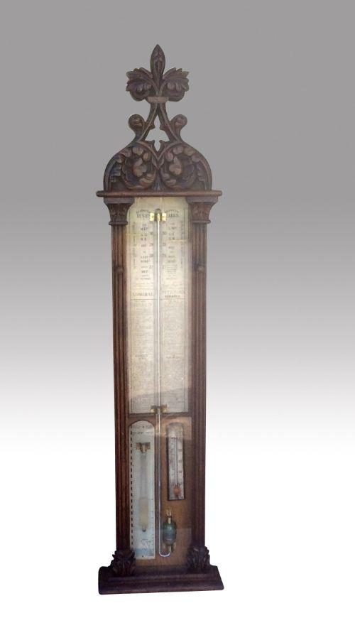 large oak carved admiral fitzroy barometer