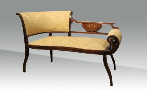 Antique Mahogany Inlaid Settee Window Seat 373188