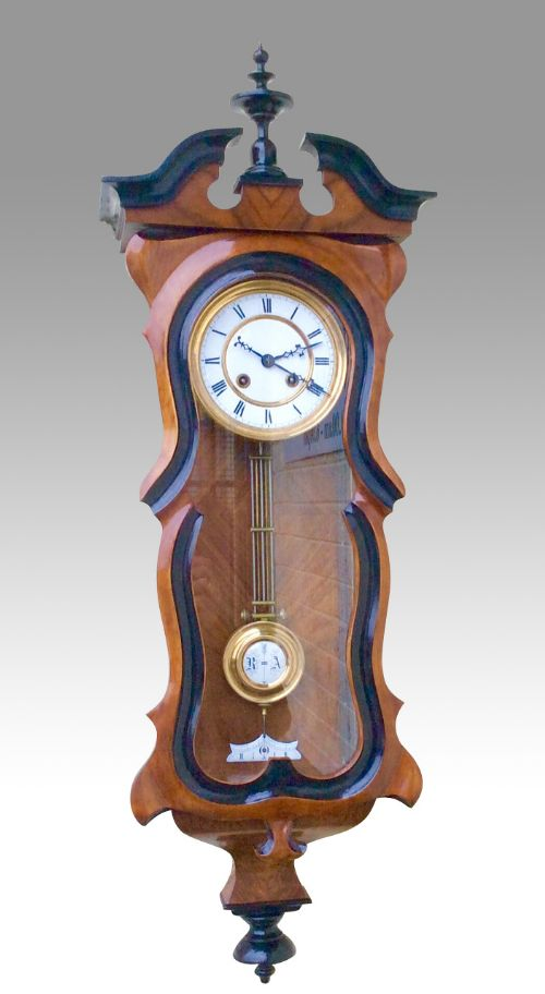quality antique black walnutspring vienna clock bygustof becker