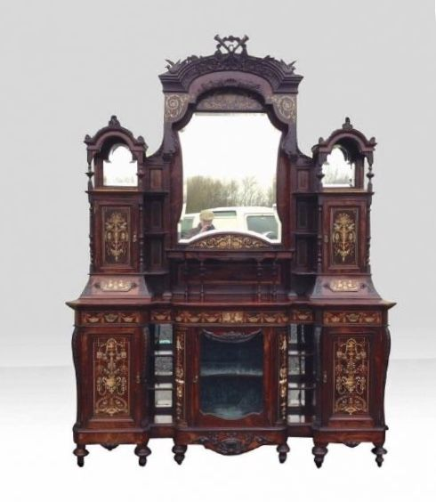 antique inlaid rosewood chiffioneer