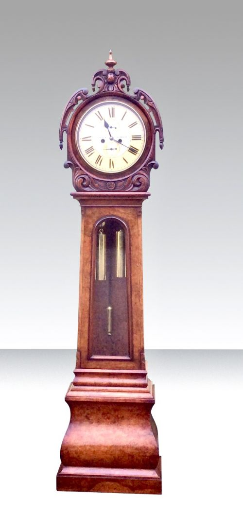 antique burr walnut drumhead grandfather longcase glasgow clock