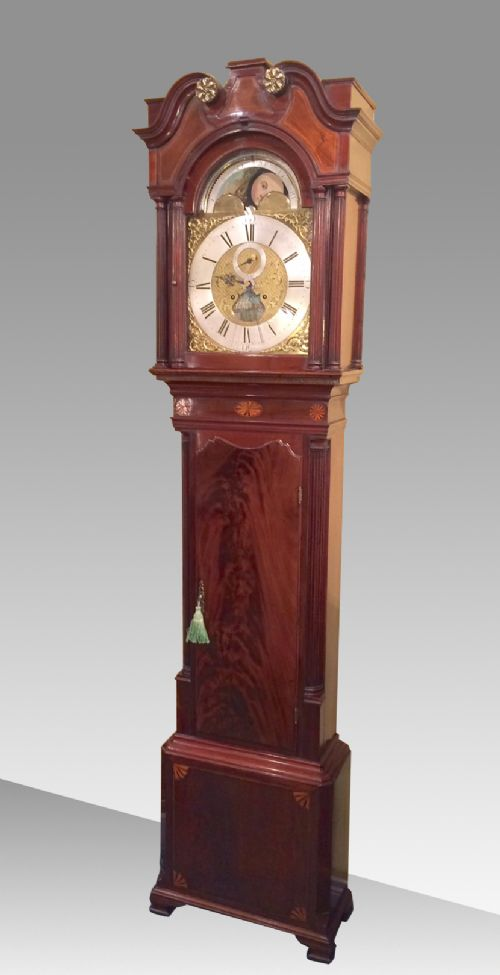 inlaid mahogany 18th century antique longcase grandfather clock by iames richards liverpool featuring an alarm and ferguson tidal dial