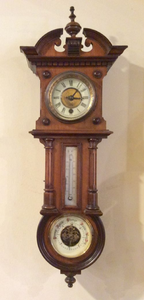 unusual antique wall clock with thermometer and aneroid barometer incorporated