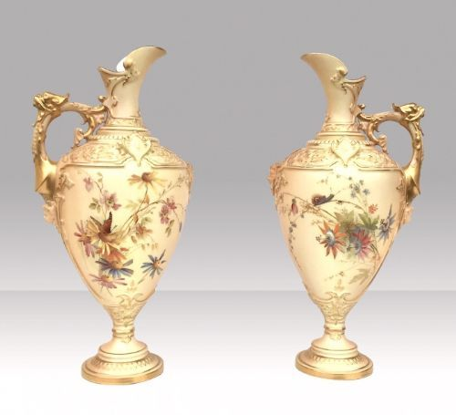 pair of antique royal worcester blush ivory pedestal vasesewers
