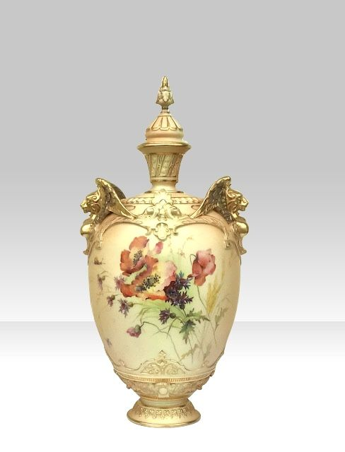 large royal worcester blush ivory vase and cover