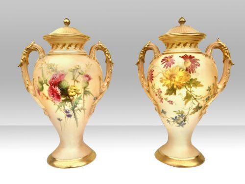 pair of antique royal worcester two handled blush ivory pot pourri vases
