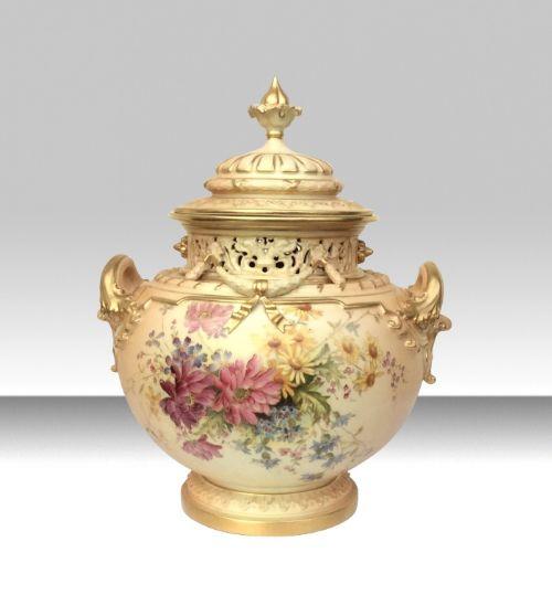 antique royal worcester blush ivory bow urn vase