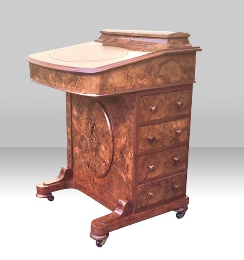 quality inlaid burr walnut antique davenport
