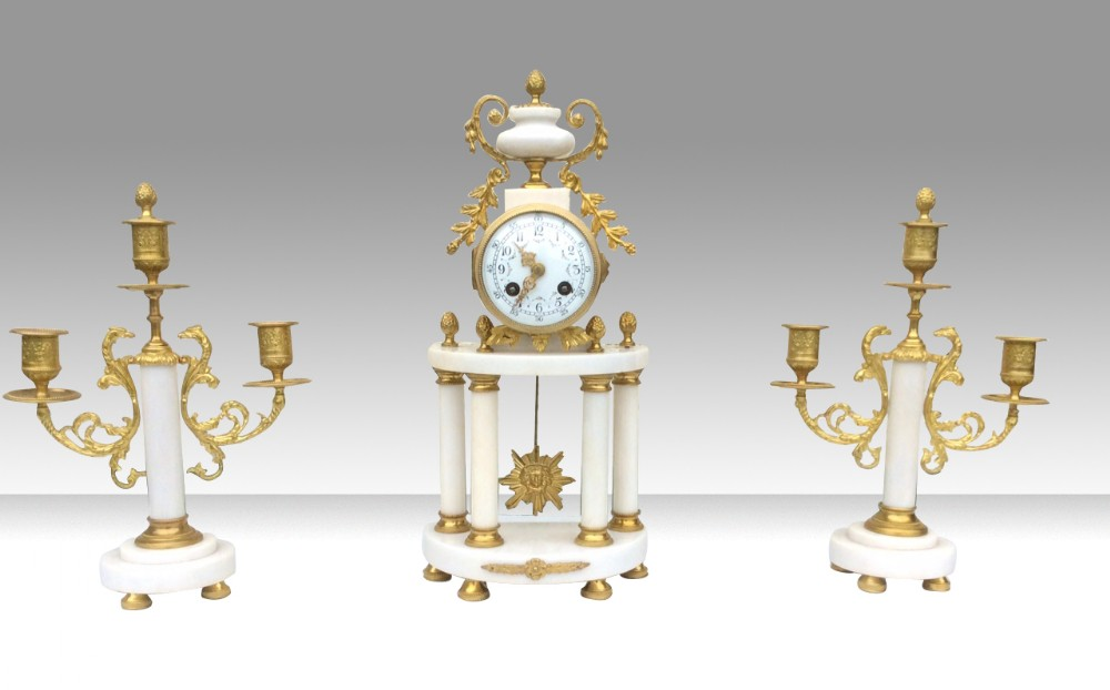 antique gilt bronze marble mantel garniture french clock set