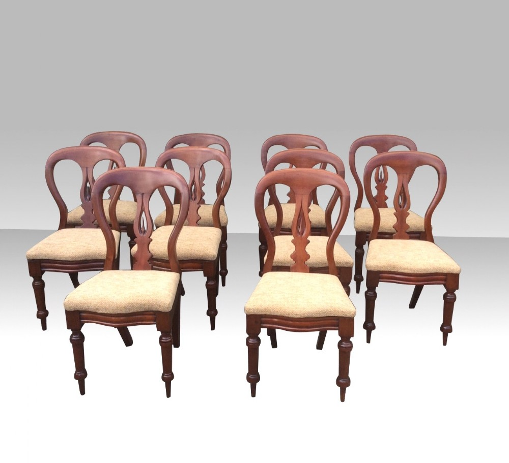 superb set of ten 10 antique mahogany dining chairs