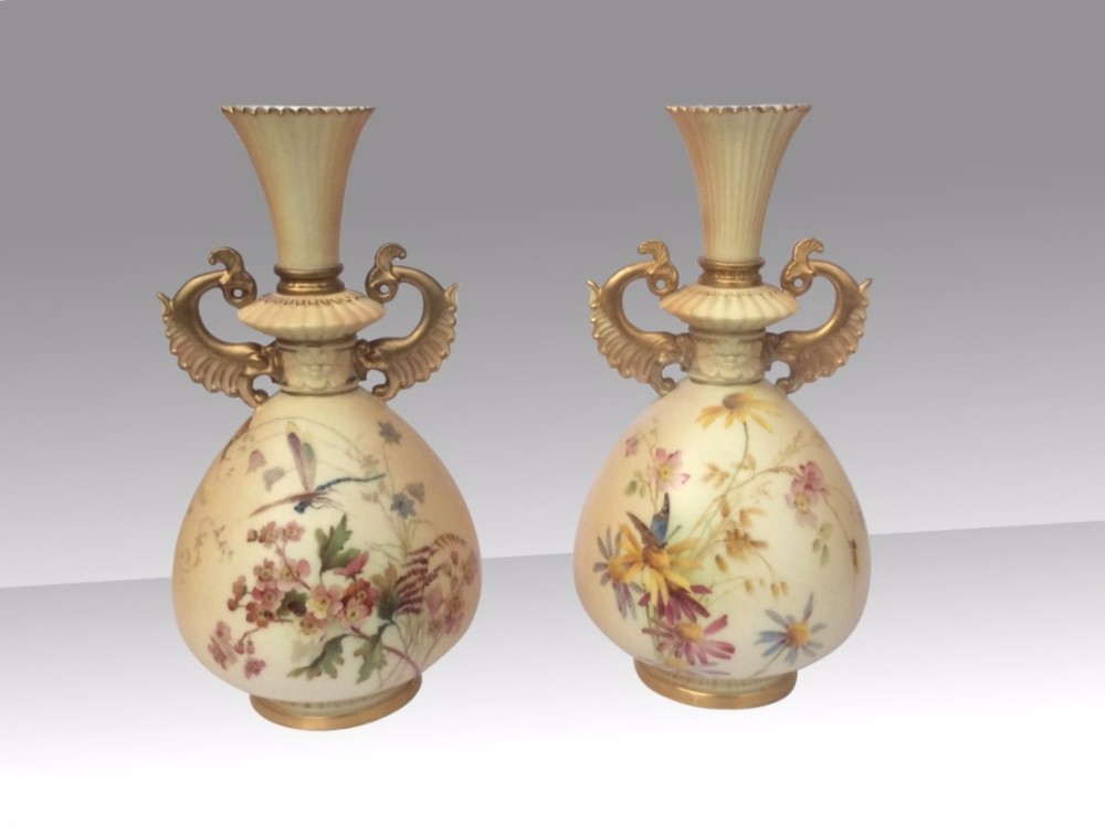 very fine pair of antique painted and blush ivory royal worcester vasesdated 18939ins tallby e raby