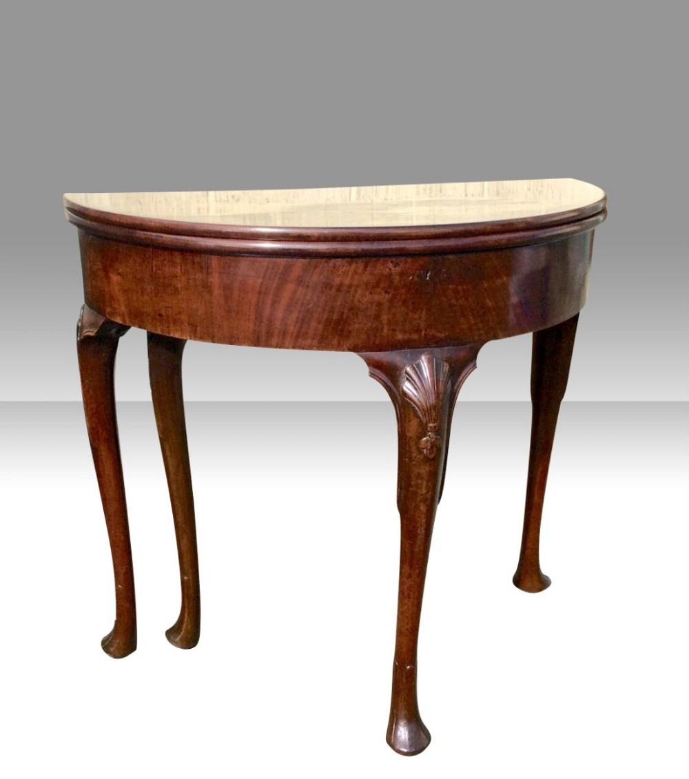 fabulous rare antique irishgeorge 11 mahogany demi lune turn over leafgames table