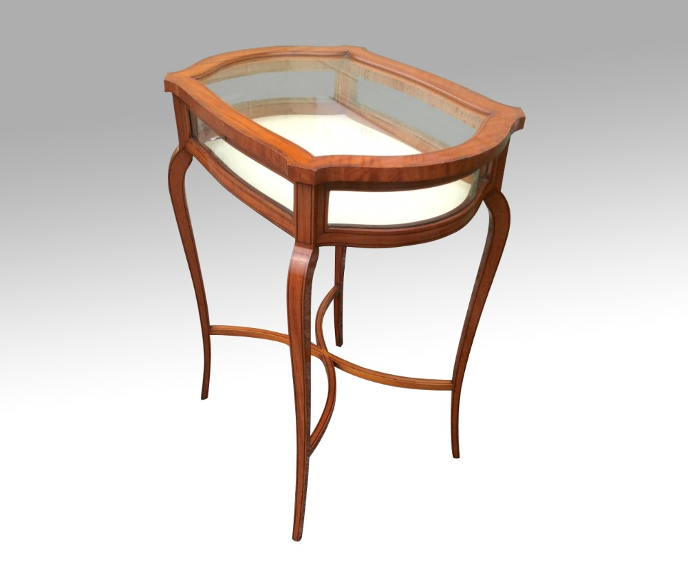 stunning inlaid satinwood bijouterie display table cabinet
