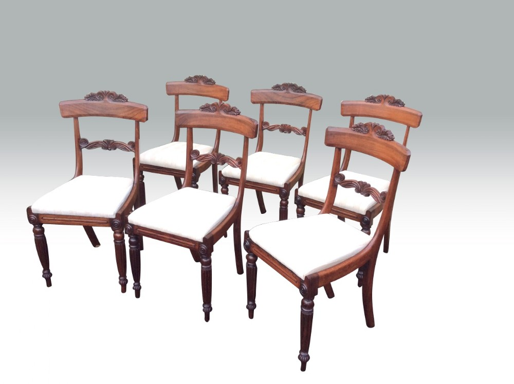 fabulous set of six antiqueregency rosewood dining chairs