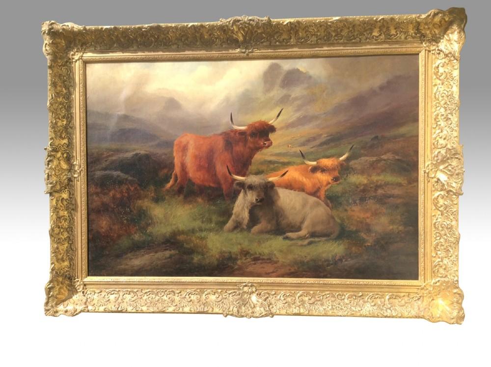 lovely large antique oil paintingscottish scene highland cattle by john w morris