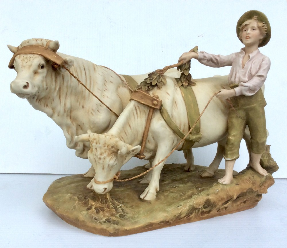 royal dux porcelain figure of a boy herding cattle