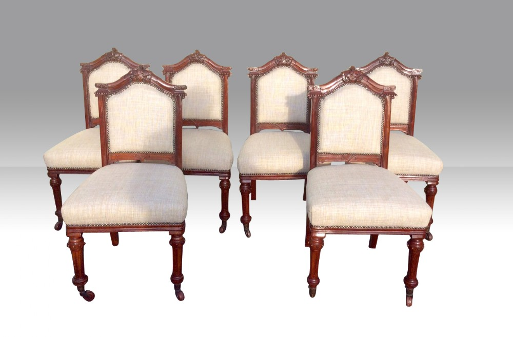 set of six antique mahogany upholstered dining chairs