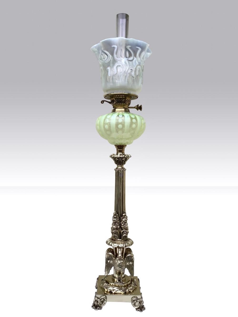 antique vaseline glass oil lamp