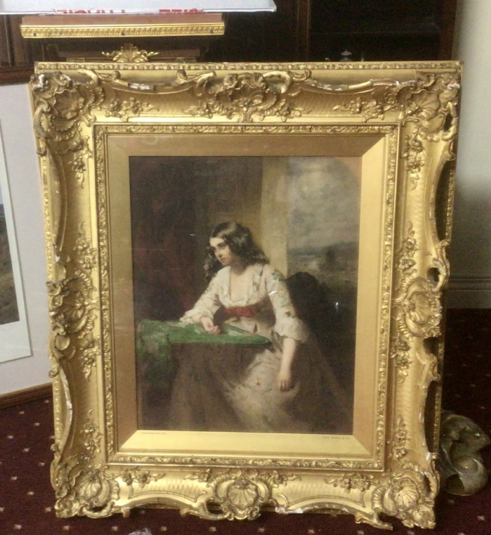original signed oil painting of beautiful girl by thomas faed rsa 18261900