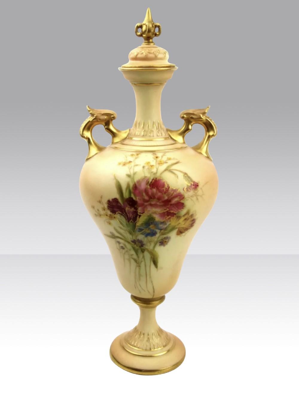 antique royal worcester blush ivory pedestal vase with lid