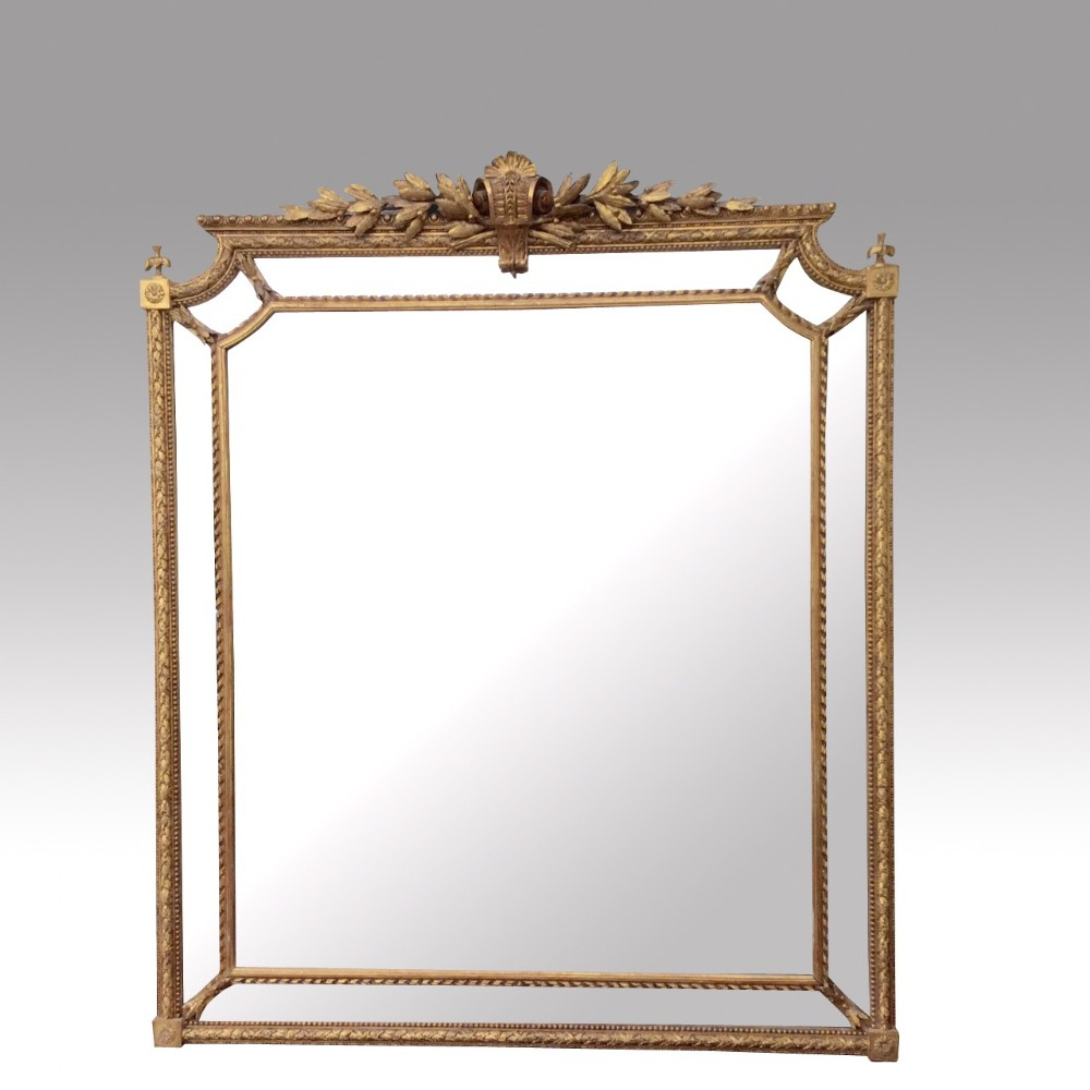 Superb large but fine antique gilt overmantle mirror for Mirror large
