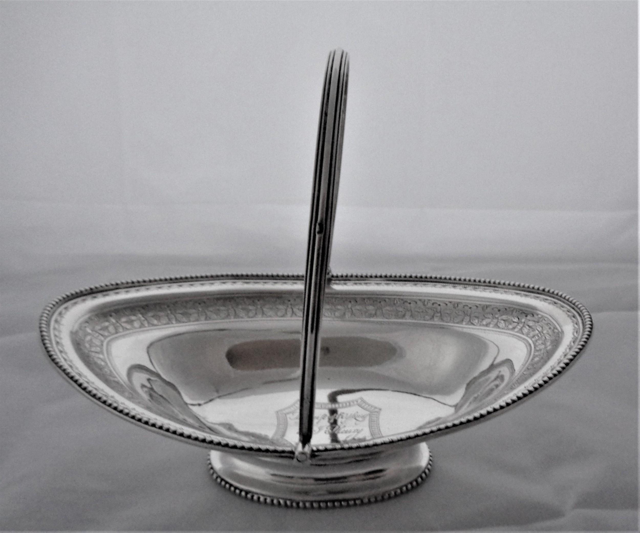 very good george iii silver swing handled basket london 1791 henry chawner