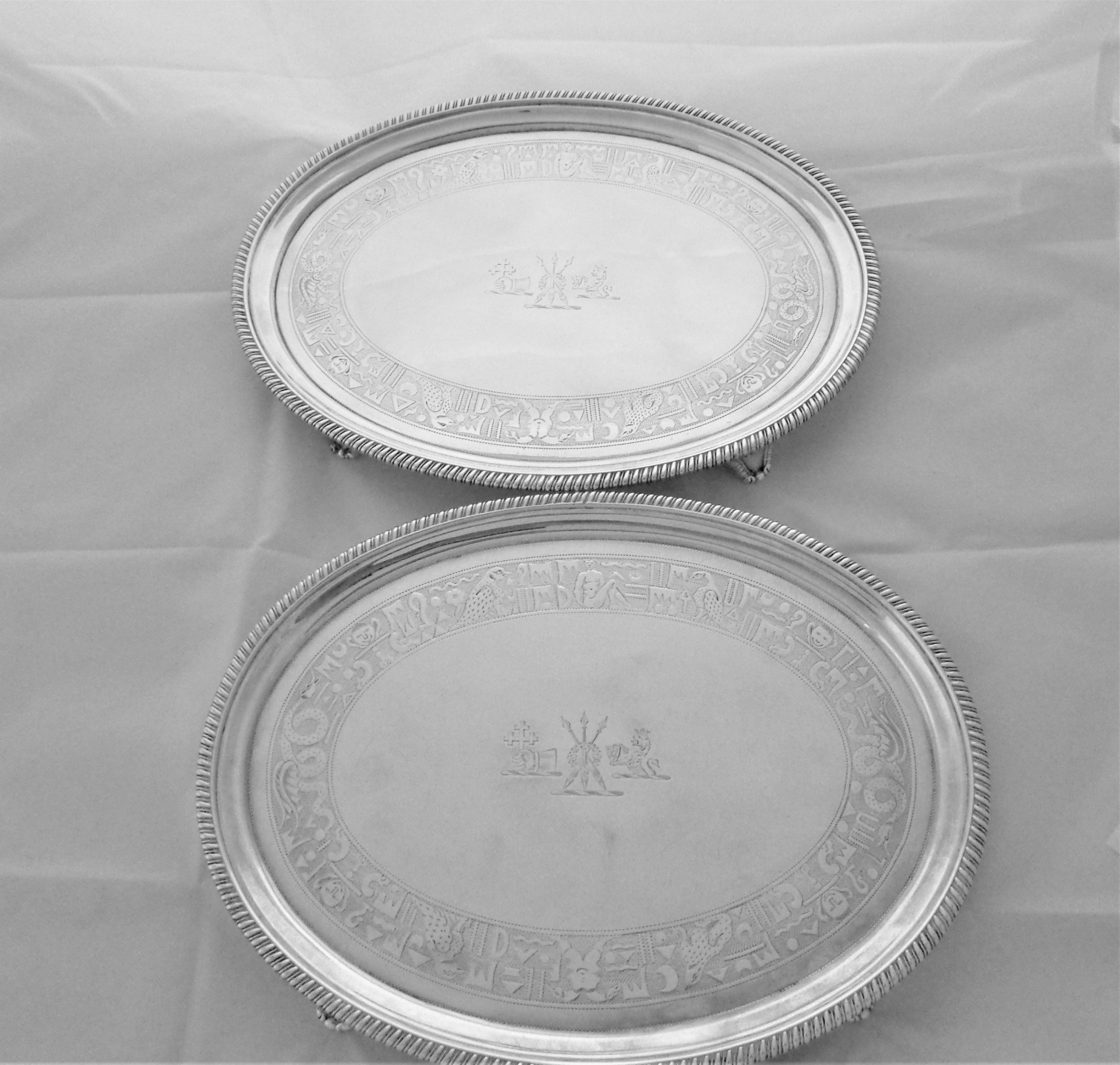 quality pair treble crested oval george iii silver salvers london 1807 william bennett