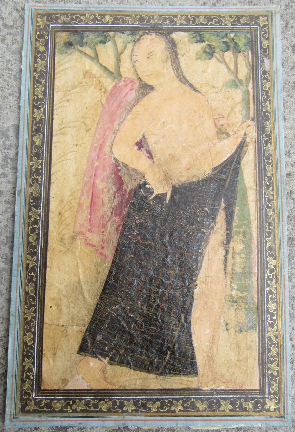 Portrait Of A Lady Undressing Safavid Isfahan 17th Century Persian