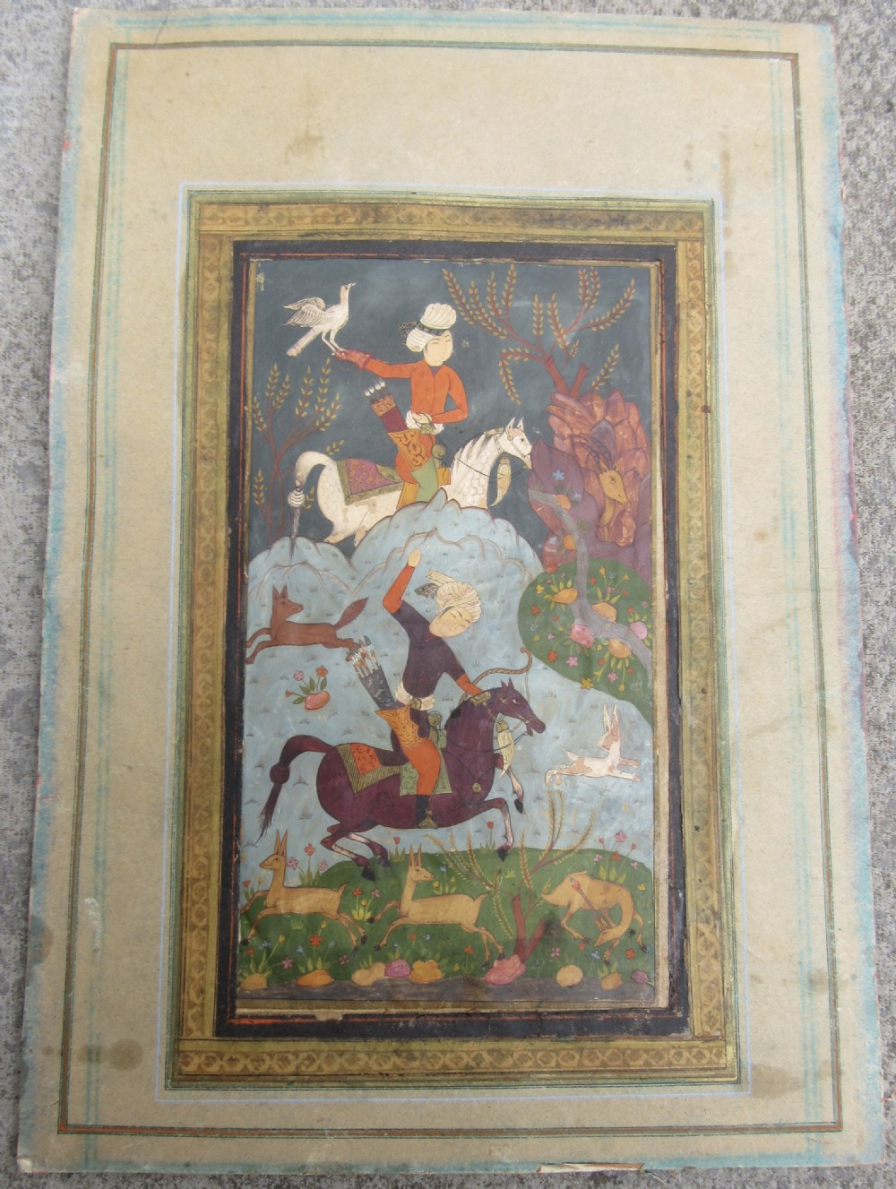 a persian safavid miniature painting nobles out hunting 17th century