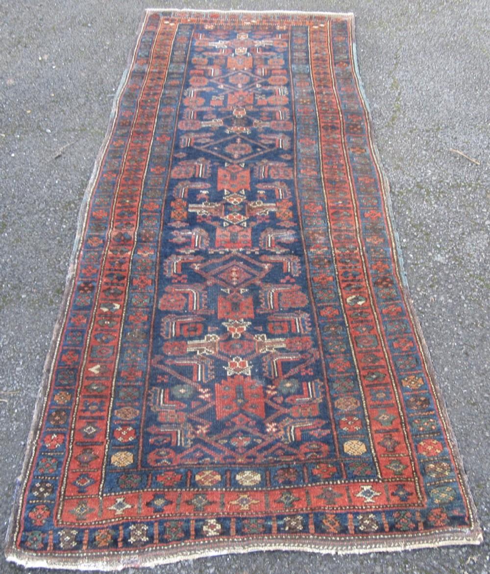 antique persian kurdish runner long rug with caucasian influence pair tribeswomen figures