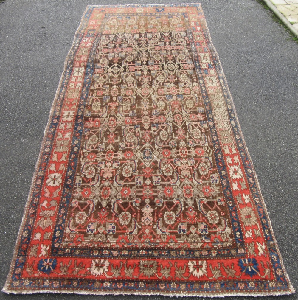 very unusual antique country house shabby chic north west persian shahsavan long rug kelleh stylised herati pattern chocolate brown field