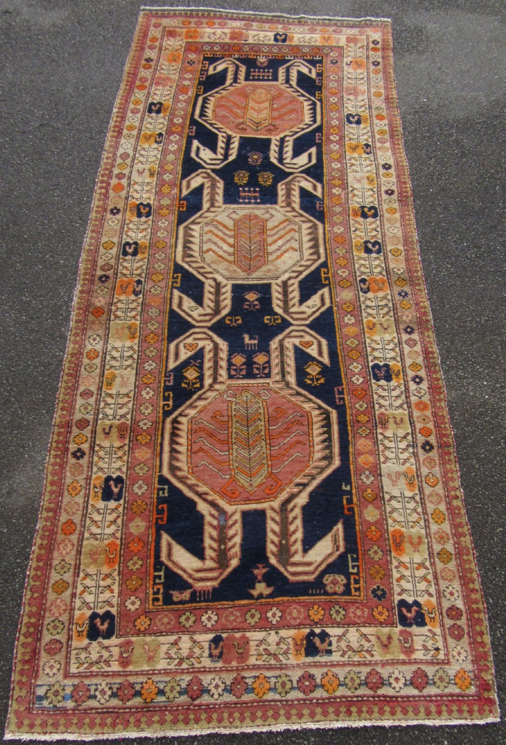 antique country house shabby chic caucasian talish lenkoran long rug runner soft palette colours