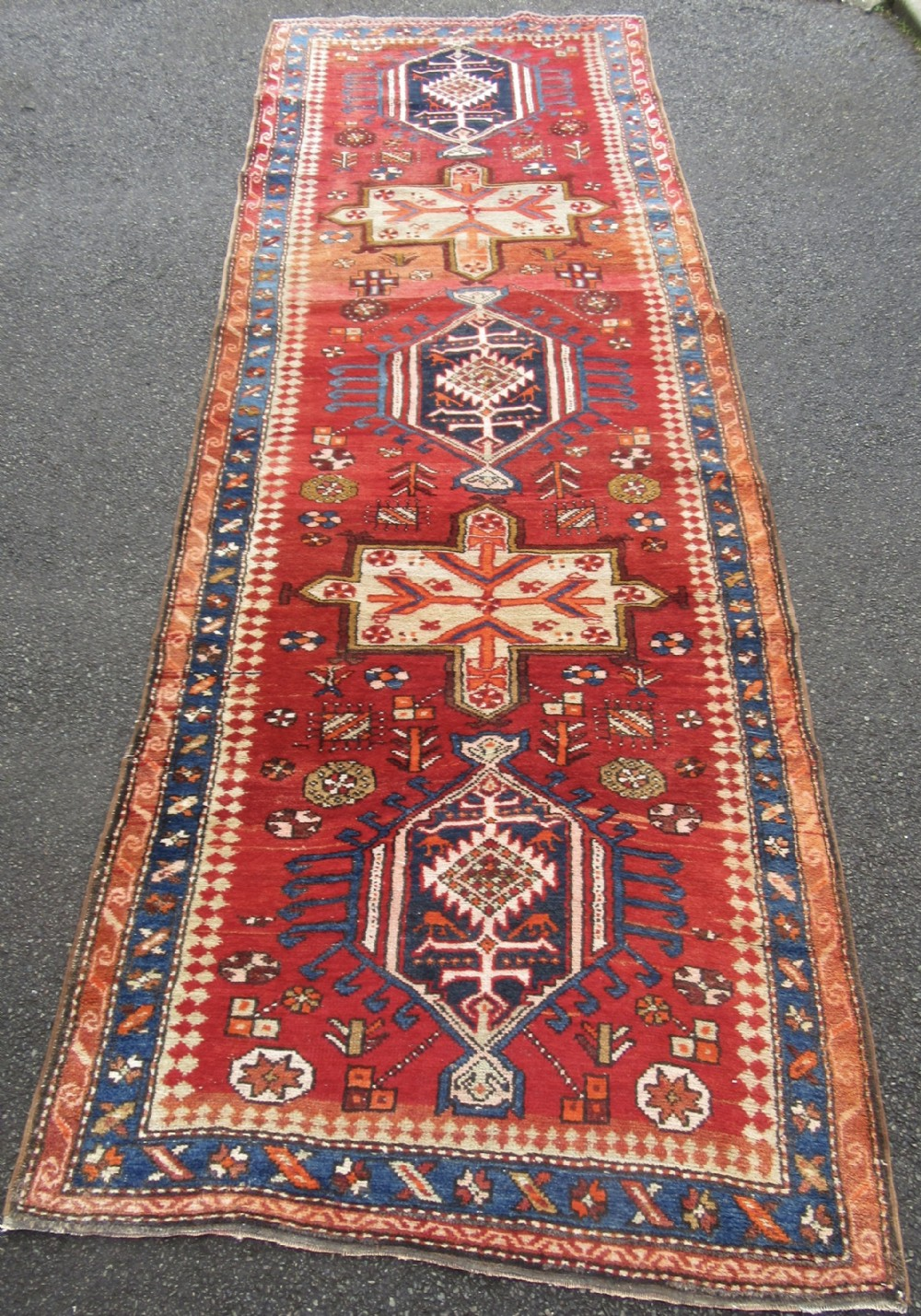 unusual antique north west persian heriz long rug runner with caucasian influence