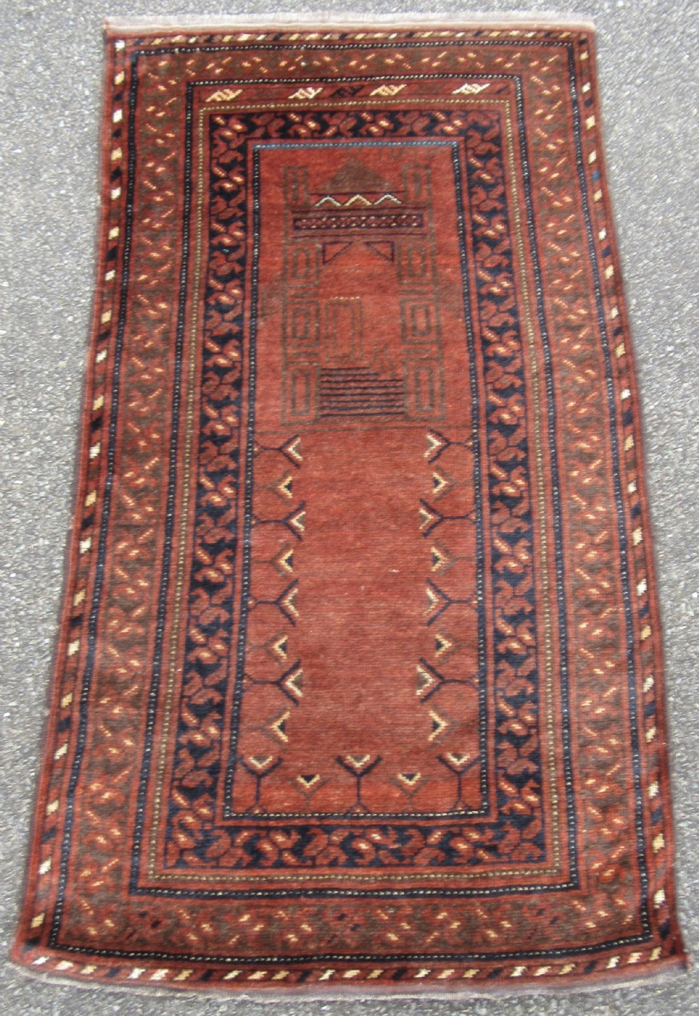 antique ersari turkmen rug small temple design with unusual dark walnut ground
