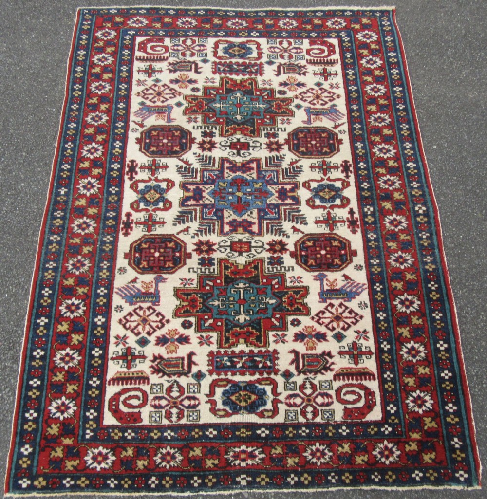 fine antique caucasian erivan armenian kuba dragon design rug gorgeous ivory ground colour