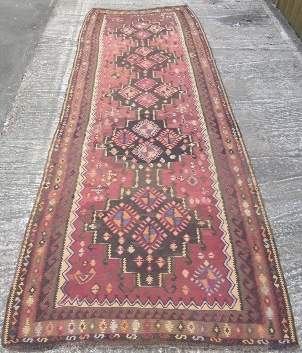antique north west persian kurdish kilim kelim long rug runner soft colours quirky look